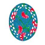 Carnations Oval Filigree Ornament (2-Side)  Back