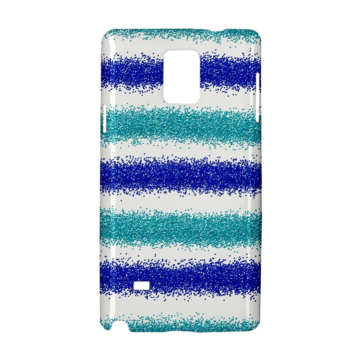 Metallic Blue Glitter Stripes Samsung Galaxy Note 4 Hardshell Case