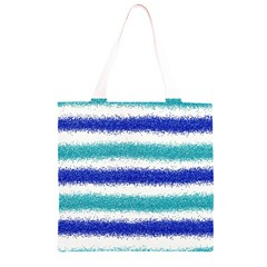 Metallic Blue Glitter Stripes Grocery Light Tote Bag