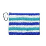 Metallic Blue Glitter Stripes Canvas Cosmetic Bag (M) Front