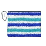 Metallic Blue Glitter Stripes Canvas Cosmetic Bag (L) Front