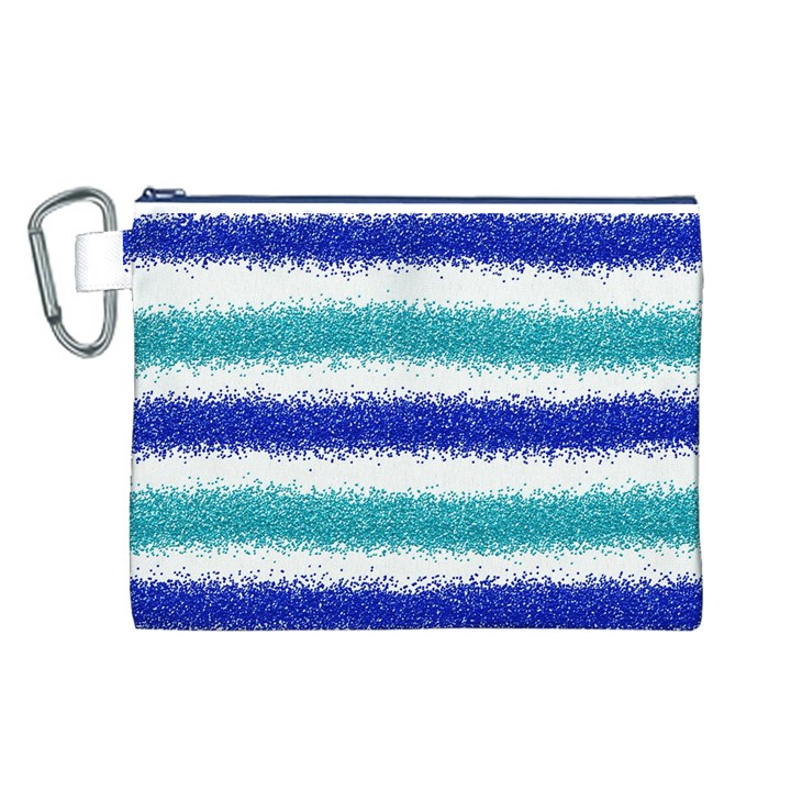 Metallic Blue Glitter Stripes Canvas Cosmetic Bag (L)