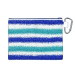 Metallic Blue Glitter Stripes Canvas Cosmetic Bag (L) Back