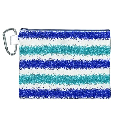 Metallic Blue Glitter Stripes Canvas Cosmetic Bag (XL)