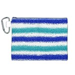Metallic Blue Glitter Stripes Canvas Cosmetic Bag (XL) Front