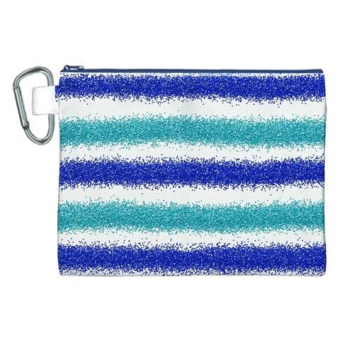 Metallic Blue Glitter Stripes Canvas Cosmetic Bag (XXL)