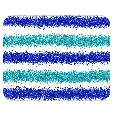 Metallic Blue Glitter Stripes Double Sided Flano Blanket (Medium)