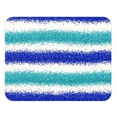 Metallic Blue Glitter Stripes Double Sided Flano Blanket (Large)