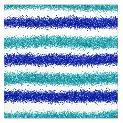 Metallic Blue Glitter Stripes Large Satin Scarf (Square)