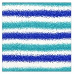 Metallic Blue Glitter Stripes Large Satin Scarf (Square) Front