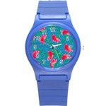 Carnations Round Plastic Sport Watch (S) Front
