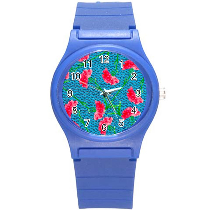 Carnations Round Plastic Sport Watch (S)