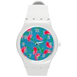 Carnations Round Plastic Sport Watch (M) Front