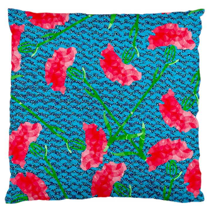 Carnations Large Cushion Case (One Side)