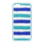 Metallic Blue Glitter Stripes Apple Seamless iPhone 6/6S Case (Color) Front