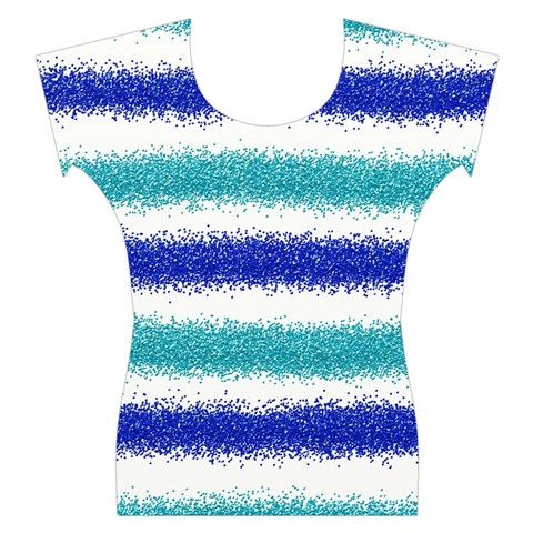 Metallic Blue Glitter Stripes Women s Cap Sleeve Top