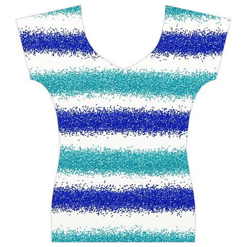 Metallic Blue Glitter Stripes Women s V-Neck Cap Sleeve Top