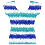 Metallic Blue Glitter Stripes Women s V-Neck Cap Sleeve Top Front
