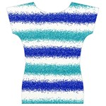 Metallic Blue Glitter Stripes Women s V-Neck Cap Sleeve Top Back