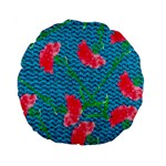 Carnations Standard 15  Premium Round Cushions Back