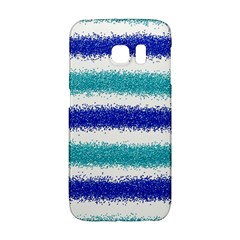 Metallic Blue Glitter Stripes Galaxy S6 Edge