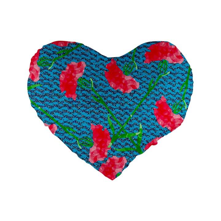 Carnations Standard 16  Premium Heart Shape Cushions