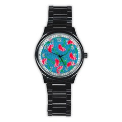 Carnations Stainless Steel Round Watch