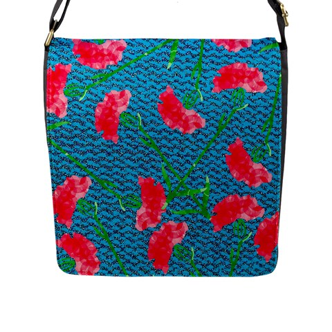 Carnations Flap Messenger Bag (L)