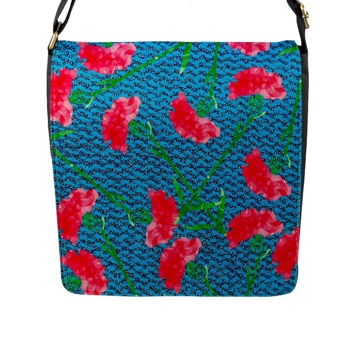 Carnations Flap Messenger Bag (L)