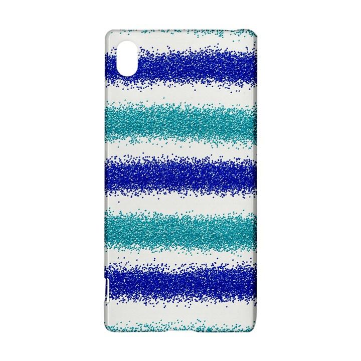 Metallic Blue Glitter Stripes Sony Xperia Z3+