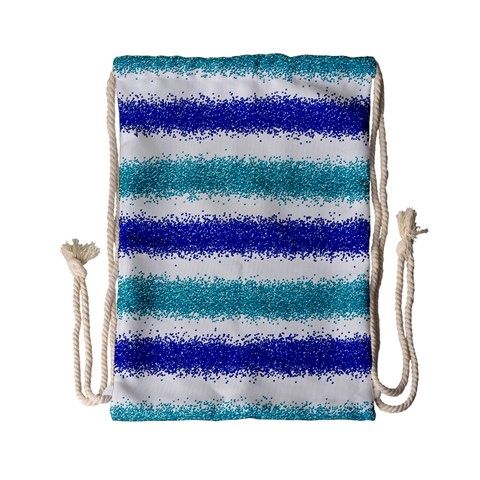 Metallic Blue Glitter Stripes Drawstring Bag (Small)