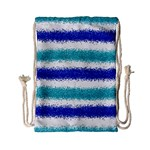 Metallic Blue Glitter Stripes Drawstring Bag (Small) Back