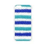 Metallic Blue Glitter Stripes Apple Seamless iPhone 6/6S Case (Transparent) Front