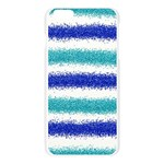 Metallic Blue Glitter Stripes Apple Seamless iPhone 6 Plus/6S Plus Case (Transparent) Front