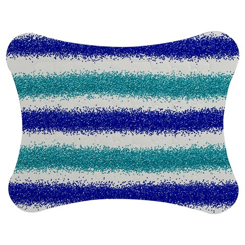 Metallic Blue Glitter Stripes Jigsaw Puzzle Photo Stand (Bow)