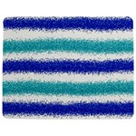 Metallic Blue Glitter Stripes Jigsaw Puzzle Photo Stand (Rectangular) Front