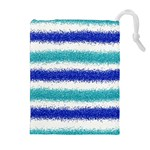 Metallic Blue Glitter Stripes Drawstring Pouches (Extra Large) Front