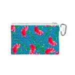 Carnations Canvas Cosmetic Bag (S) Back