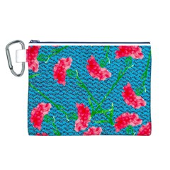 Carnations Canvas Cosmetic Bag (L)