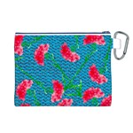 Carnations Canvas Cosmetic Bag (L) Back