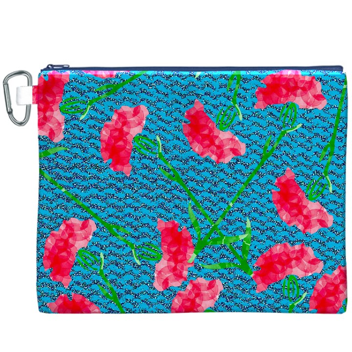 Carnations Canvas Cosmetic Bag (XXXL)