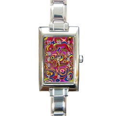 Abstract Shimmering Multicolor Swirly Rectangle Italian Charm Watch