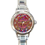 Abstract Shimmering Multicolor Swirly Round Italian Charm Watch Front