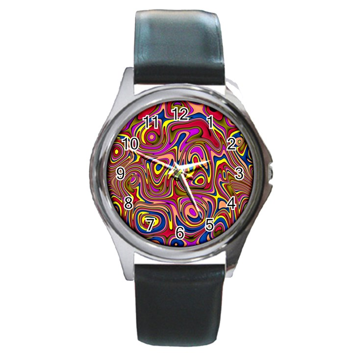 Abstract Shimmering Multicolor Swirly Round Metal Watch