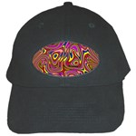Abstract Shimmering Multicolor Swirly Black Cap Front