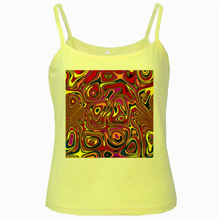 Abstract Shimmering Multicolor Swirly Yellow Spaghetti Tank