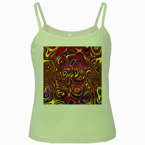 Abstract Shimmering Multicolor Swirly Green Spaghetti Tank