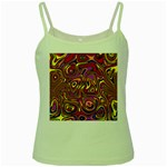 Abstract Shimmering Multicolor Swirly Green Spaghetti Tank Front