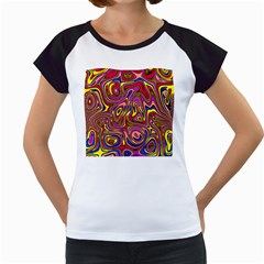 Abstract Shimmering Multicolor Swirly Women s Cap Sleeve T