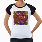 Abstract Shimmering Multicolor Swirly Women s Cap Sleeve T Front